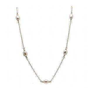 Pearl Station Necklace 9ct Gold Oval Cultured Pearls - Like Mary Berry's